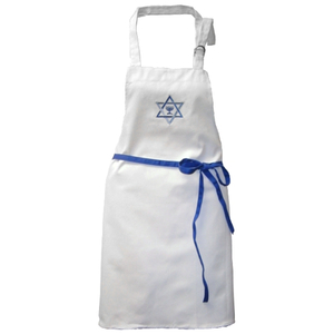White Embroidered Menorah with Star Of David Apron