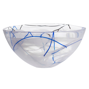 Kosta Boda Contrast White Glass 13.75 Inch Large Bowl