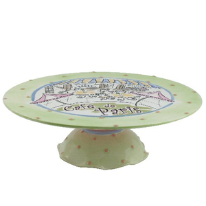 Bistro Cafe de Paris Large Ceramic Pedestal Cake Plate StandParis