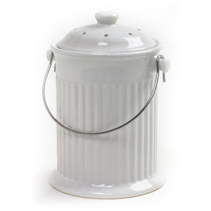 Norpro White Ceramic Kitchen Compost Keeper Pail