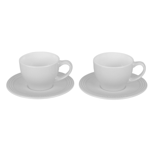 Le Creuset White Stoneware Cappuccino Cups and Saucers, Set Of 2