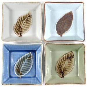 Stoneware Square Leaf 4 Piece Sushi Appetizer Plate Set