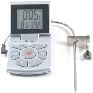 CDN Silver Combo Probe Digital Thermometer and Timer, with Spanish