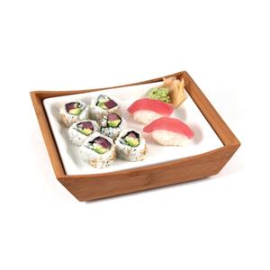 Tru Bamboo Nobu Bento Box with White Ceramic Plate Insert