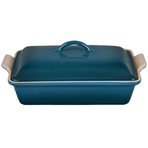 Le Creuset Deep Teal Heritage Stoneware Covered 4 Quart Rectangular Casserole