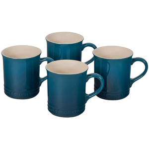 Le Creuset Deep Teal Stoneware Mug, Set of 4