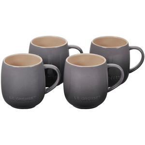 Le Creuset Cafe Collections Oyster Enameled Stoneware 13 Ounce Heritage Mug, Set of 4