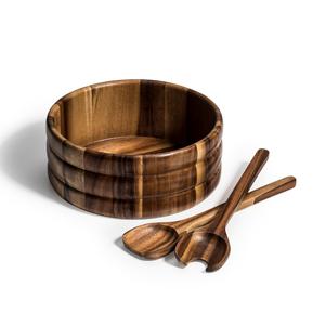 Kalmar Home 10-Inch Acacia Wood Large Skagen Salad Bowl with Servers