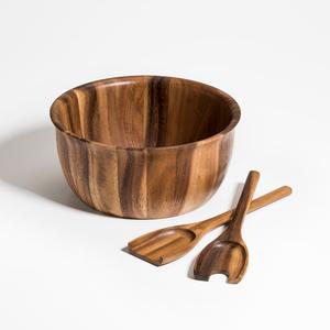 Kalmar Home 11-Inch Acacia Wood Large Soro Salad Bowl with Servers