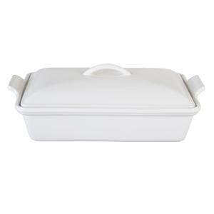 Le Creuset Heritage White Stoneware Covered Rectangular Casserole Dish, 4 Quart