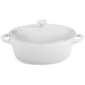 Le Creuset White Stoneware Oval Mini Cocotte, 12 Ounce