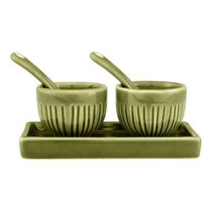 Zak Design 5 Piece Green Stoneware Salt and Pepper Set