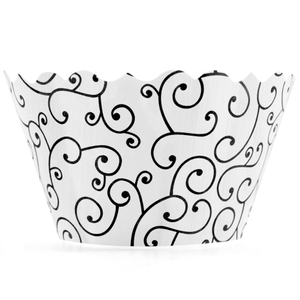 Bella Cupcake Couture Olivia Black and White Cupcake Wrapper, Set of 12