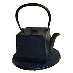 Japanese Tetsubin Cast Iron Blue Square Teapot