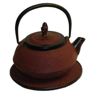 Japanese Tetsubin Cast Iron Sienna Red Teapot
