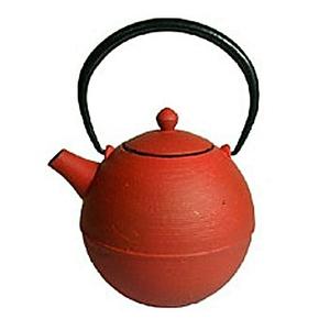 Japanese Tetsubin Cast Iron Red Teapot w/ Infuser