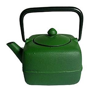Japanese Tetsubin Cast Iron Square Green Teapot Infuser