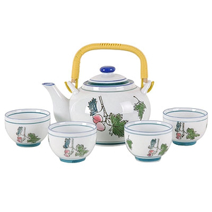 Japanese Peach Tree Teapot Set with 4 Tea Cups