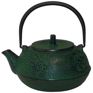 Green Bamboo Japanese Tetsubin Cast Iron Teapot