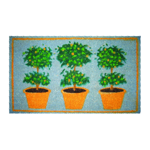 Three Orange Trees Mid-Thickness Hand Woven Coir Doormat, 18 x 30 Inch