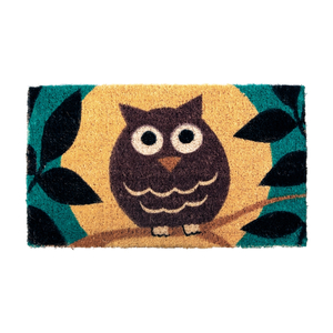 Wise Owl Mid-Thickness Hand Woven Coir Doormat, 18 x 30 Inch