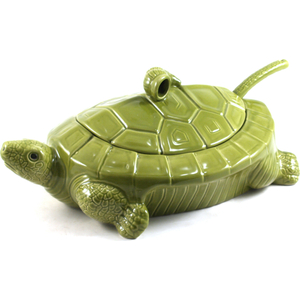 Green Ceramic Turtle Soup Tureen