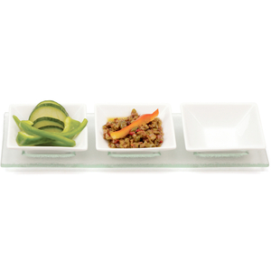 RSVP Square Porcelain and Glass 4 Piece Condiment Serving Tray Set