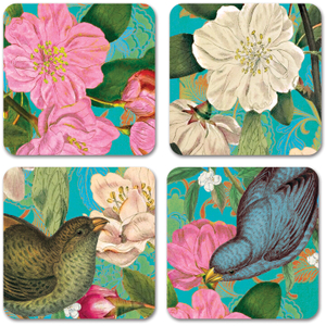 Studio Oh! Teal Floral Paper Coasters, Set of 12