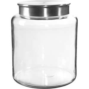 Anchor Hocking Glass Modern Montana Jar with Brushed Aluminum Cover, 2 Gallon