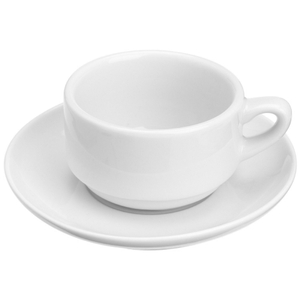 Kitchen Supply White Porcelain Espresso Cup and Saucer, 3 Ounce