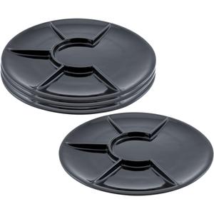 Swissmar Round Black Porcelain Raclette and Fondue Plate, Set of 4