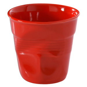 Revol Froisses Pepper Red Porcelain 2.75 Ounce Crumpled Espresso Tumbler