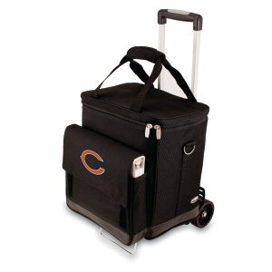 Picnic Time NFL Chicago Bears Insulated 6 Bottle Cellar Wine Tote with Trolley