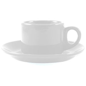 Omniware Espresso Coffee Delight White Stoneware Mug and Saucer Service for 2