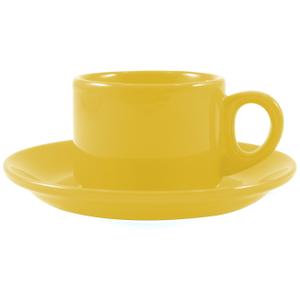 Omniware Espresso Coffee Delight Yellow Stoneware Mug and Saucer Service for 2