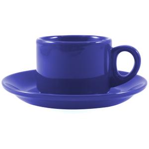 Omniware Espresso Coffee Delight Blue Stoneware Mug and Saucer Service for 2