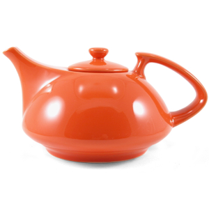 OmniWare Teaz Orange Stoneware Athena 30 Ounce Teapot with Stainless Steel Mesh Infuser