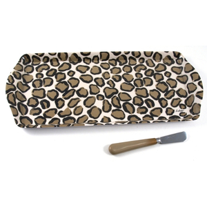 Lolita Melamine Love My Party Leopard Hostess Tray and Spreader Set, 15 x 6.5 Inch