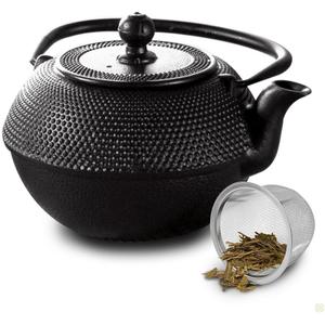 Primula Black Hammered Cast Iron Tea Pot, 36 Ounce