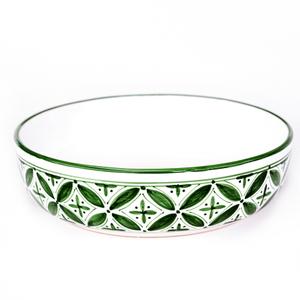 Sobremesa Fairtrade Fez Collection Handmade White and Green Ceramic Pasta Bowl