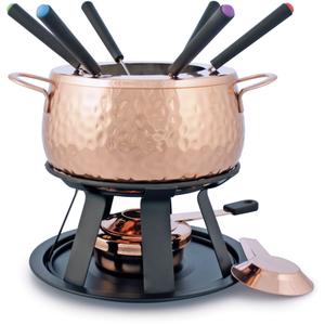 Swissmar Biel 11 Piece Copper Plated Stainless Steel Meat Fondue Set