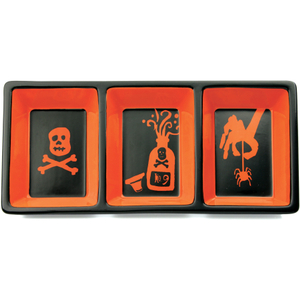 Omniware Orange and Black Halloween Potion No. 9 Earthenware Trio Candy Dish