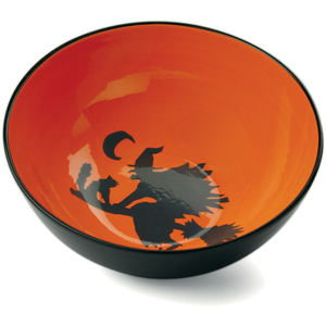 Omniware Orange and Black Halloween Potion No. 9 Orange Earthenware Treat Bowl