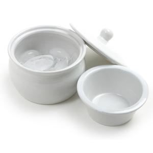 Norpro White Stoneware Dip Warming Server, 1.5 Cup