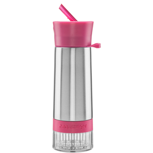 Zing Anything Aqua Zinger 18/8 Stainless Steel Pink Fruit Fusion Water Bottle, 20 Ounce