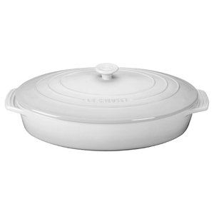 Le Creuset White Stoneware Covered Oval Casserole Dish, 3.75 Quart