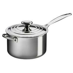 Le Creuset Tri-Ply Stainless Steel Saucepan with Lid, 4 Quart