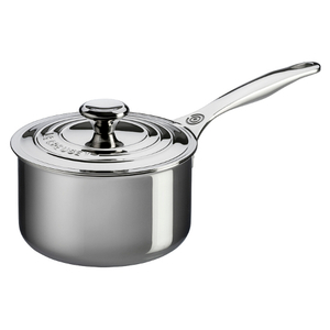 Le Creuset Tri-Ply Stainless Steel Saucepan with Lid, 3 Quart
