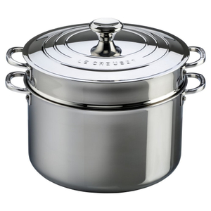 Le Creuset Tri-Ply Stainless Steel Stockpot with Lid and Deep Colander Insert, 9 Quart