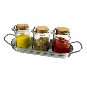Artland Oasis Glass Condiment Jar with Spoon and Tray, Set of 3